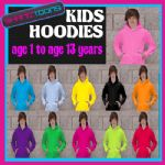 X100 KIDS PLAIN  HOODIE HOODY 11 COLOURS DANCE SCHOOL  FOOTBALL CLUB